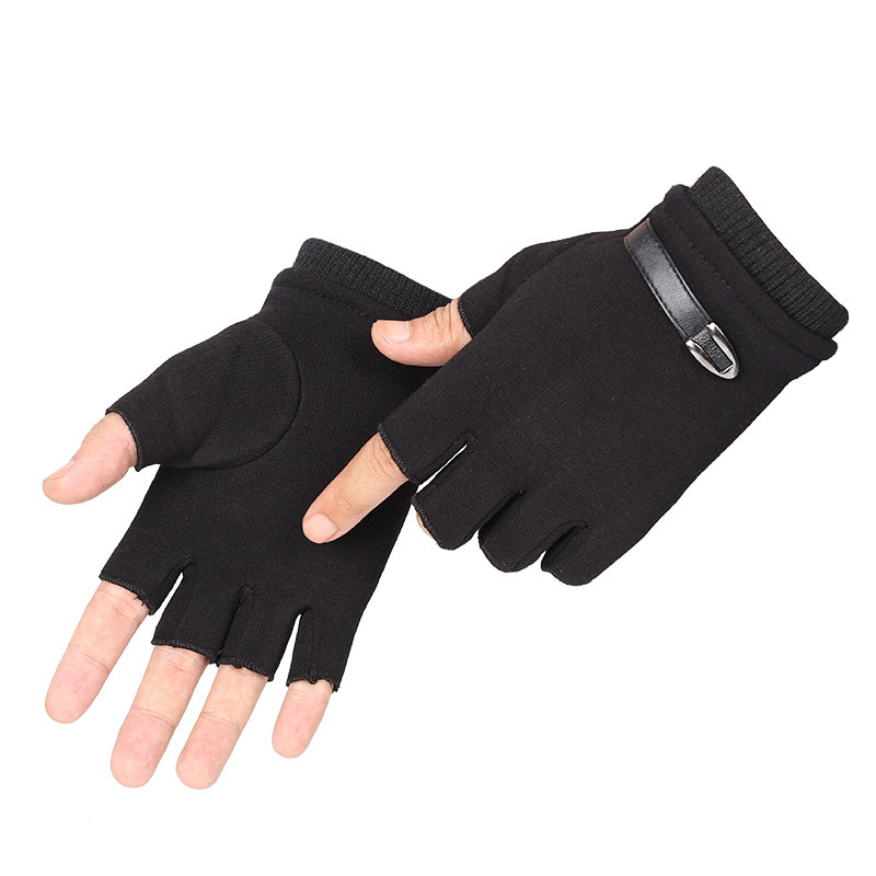 Men Winter Gloves Fleece Warm Stretch Half Finger Gloves Unisex Fingerless Mittens Outdoor Bicycle Driving Black Mens Gloves