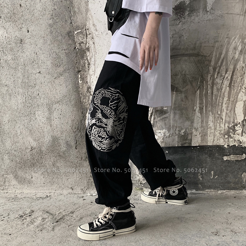 Japanese Harajuku Style Harem Pants Chinese Tang Suit Hip Hop Plus Size Streetwear Wide Leg Trouser Bottoms Gothic Asian Clothes
