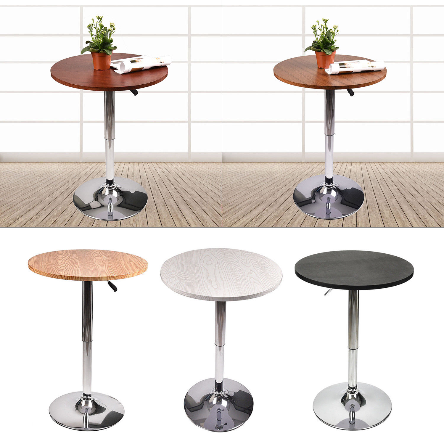 Modern 24'' Bar Table Wood Adjustable Swivel Chrome Pub Counter Top Round Black