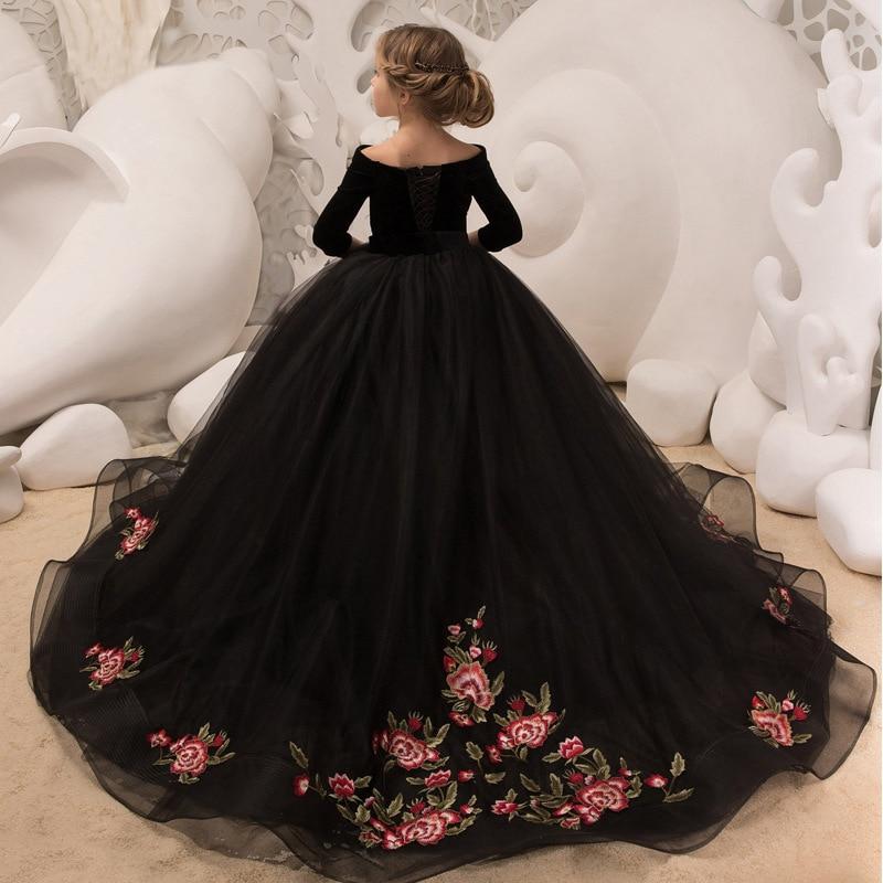 CHILDREN'S Full Dress New Style Long Skirts Girls Model Catwalks Formal Dress Princess Dress Piano Costume Tailing Long Sleeve W