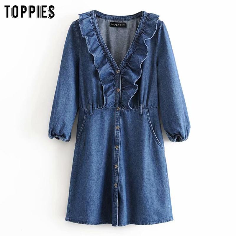 Vintage Blue Denim Dress Women Long Sleeve Ruffles Mini Dress Ruffles V-neck Button Vestidos 2020