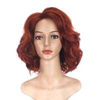 Guerra del infinito Cosplay peluca Viuda Negra peluca Natasha Romanoff corto rizado resistente al calor pelucas de pelo sintético + peluca Cap