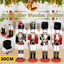 30cm Wooden Nutcracker Doll  Miniature Figurines Vintage Handcraft Puppet New Year Christmas Ornaments Home Decor