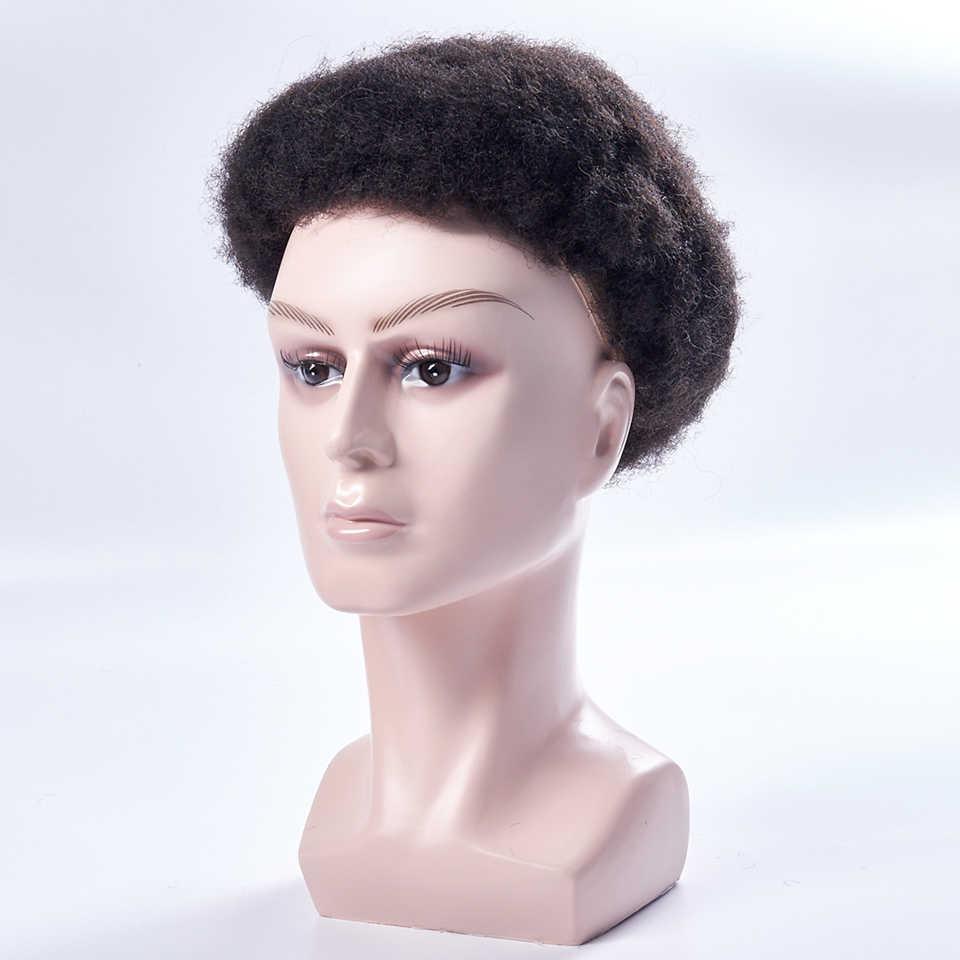 Herren Toupet Perücke Volle Spitze Und PU Afro Verworrene Lockige Ersatz Haar System Handgemachte Haarteile Indische Menschliche Remy Haar 6 zoll