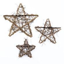 1 шт., венки из высушенного ротанга в форме звезды, искусственные цветы, Рождественское украшение для дома, ручной работы, подвесной декор дл...