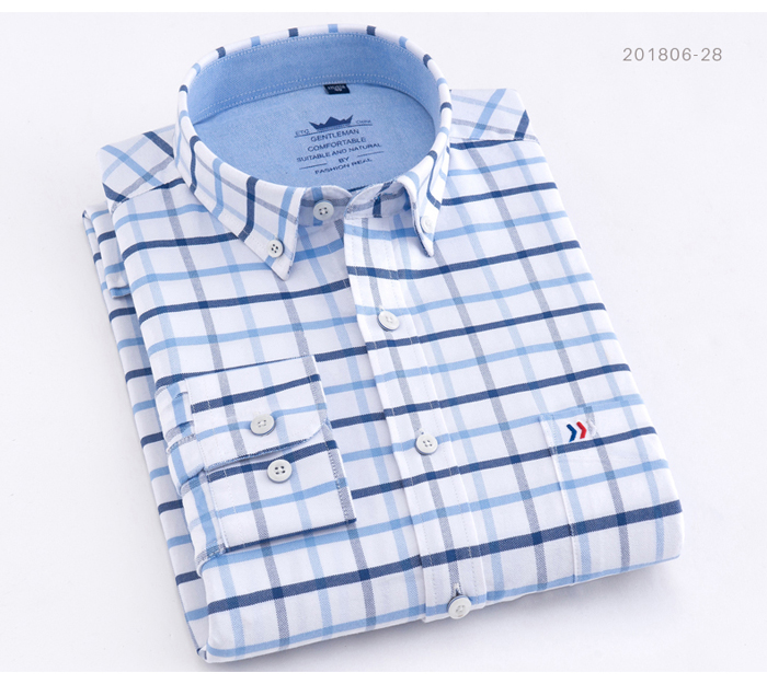 H41522c3108944e0888b4dc57f98186dbc - Men's Casual 100% Cotton Oxford Striped Shirt Single Patch Pocket Long Sleeve Standard-fit Comfortable Thick Button-down Shirts