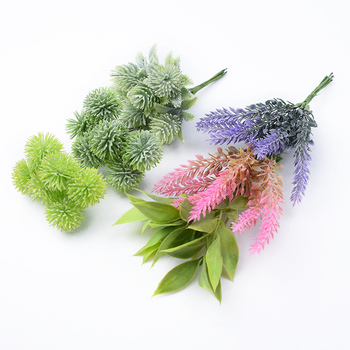 6pcs Plastic floristics artificial plants wedding decorative flowers needlework brooch vases for home decor christmas garland 5