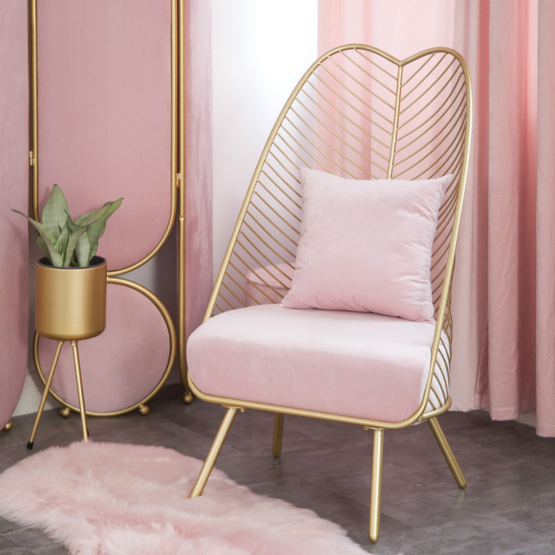 Nordic Ins Light Luxury Cloth Wrought Iron Net Red Single Small Sofa Simple Living Room Bedroom Balcony Leisure High Chair Pink