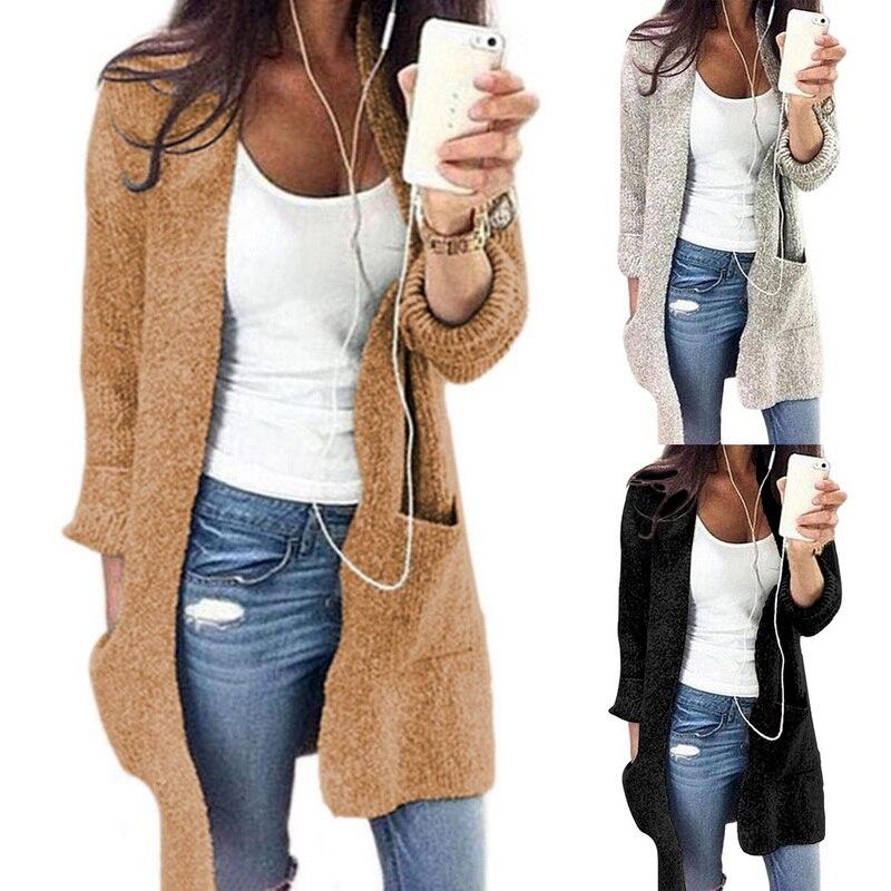 2020 Autumn Women Sweater Coat Long Sleeve Solid Open Stitch Cardigans Slim Casual Knitted Oversize Women Outwear Coat Tops