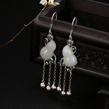 One LuYin S925 pure silver inlay hetian jade white jade gourd personality Ms. Tassel pendant earrings earrings