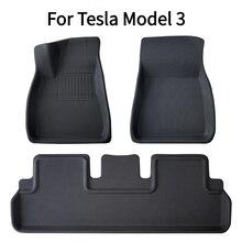 3 adet/6 adet Tesla modeli 3 araba su geçirmez kaymaz zemin mat TPE XPE modifiye araba aksesuarları tamamen çevrili özel ayak pedi