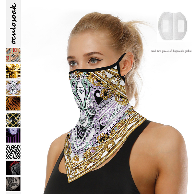 Explosion Digital Printing Hanging Ear Triangle Scarf Sunscreen Light Breathable Outdoor Riding Multi-purpose Scarf