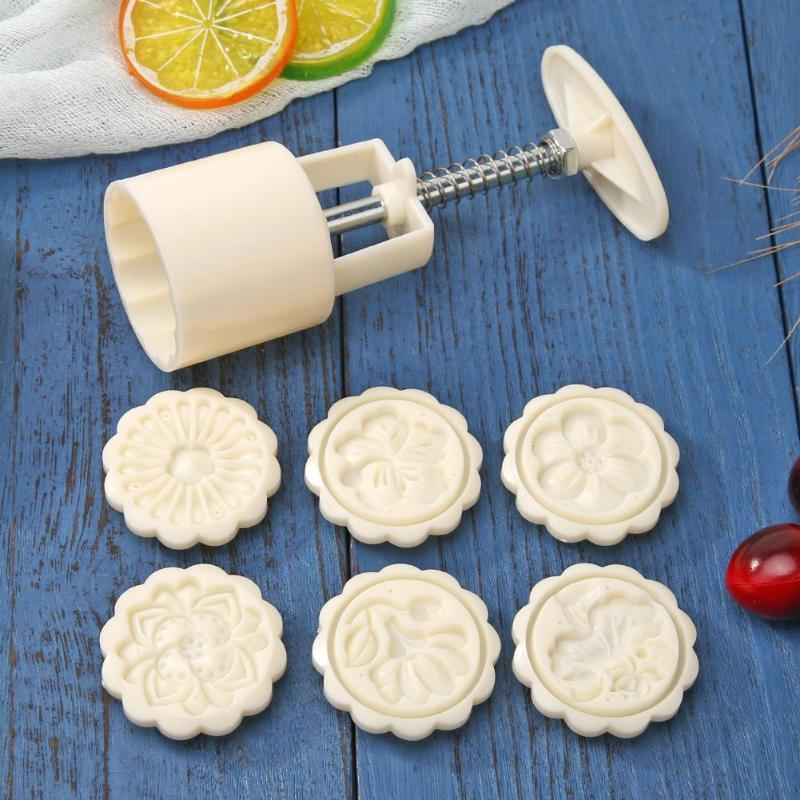 Pele de gelo mooncake sobremesa molde plásticos brancos 6 padrões diy decoração pressão da mão cozinha cozimento corte acessórios