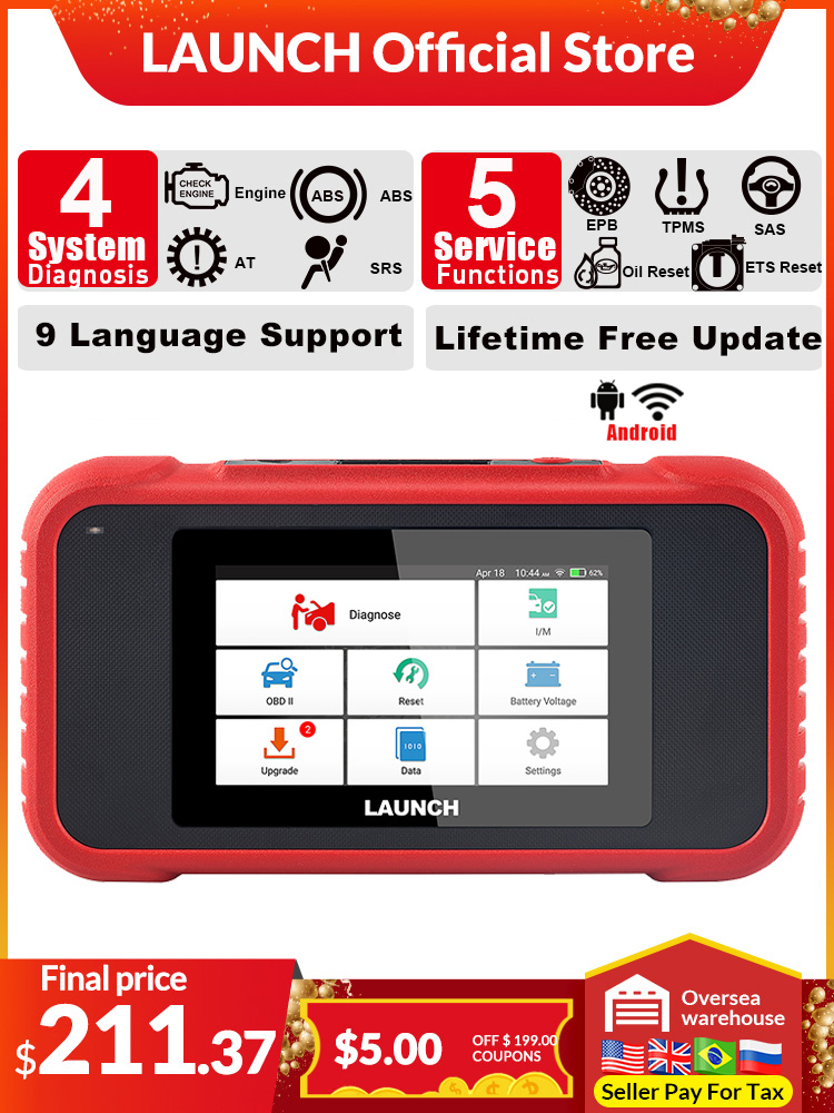 LAUNCH Diagnostic-Tool Car-Scanner TMPS OBD2 Crp123 AT ENG SRS PK Reset Oil-Sas EPB ABS