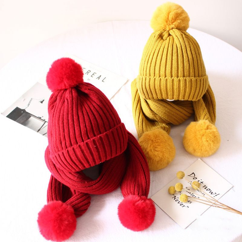 2019 Winter Children Scarf Hat Set Knitted Fluffy Pompom Solid Color Kids Head Cap Shawl