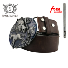 Horse West Cowboy Jeans Gift Belt Buckle with Antique Silver Finish for 4cm Width Snap on Animal