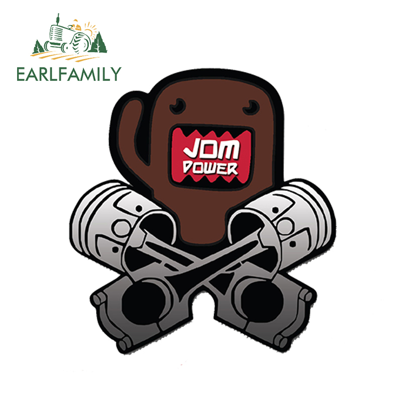 EARLFAMILY 13cm x 13cm Car Styling DOMO KUN JDM POWER Car Sticker Decal Vinyl Japan Waterproof Bumper Doors Windows Accessories