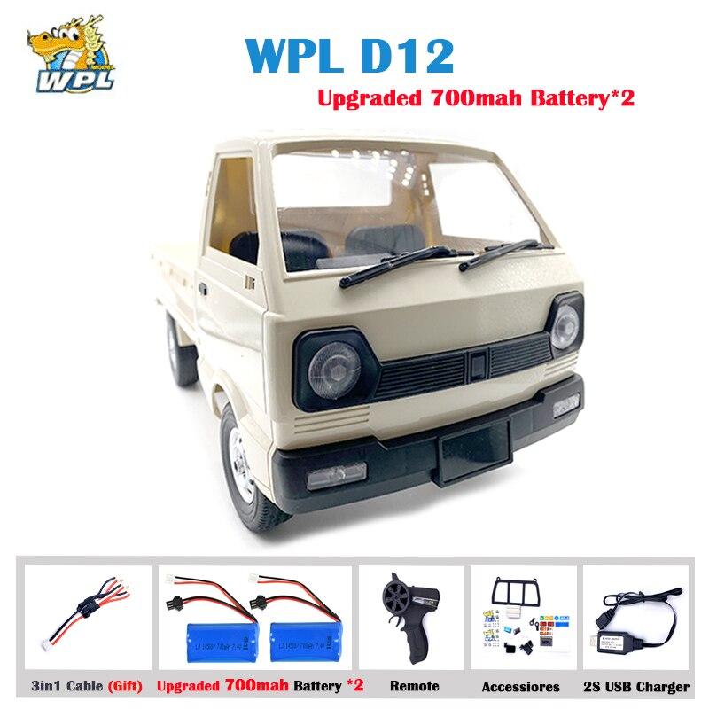 Wpl d12 110 4wd rc carro simulação deriva escalada caminhão led luz on-road 260 escovado motor d12 carro 1/10 para crianças presentes brinquedos