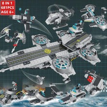 681Pcs Military Aircraft carrier Model Building Blocks Sets Weapon Warship Army WW2 Soldiers LegoINGLs Bricks Toys for Children 472pcs invincible battleship warship navy bricks military army soldiers building blocks toys for children