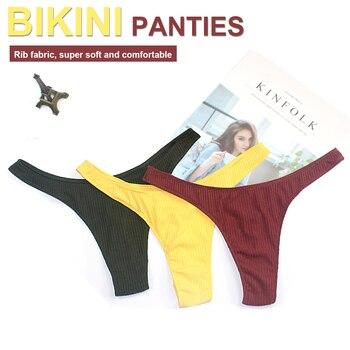 2020 Sexy Cotton Bikini Panties Women Underwear Brazilian Bottom Tanga G-string Briefs Rib Thong