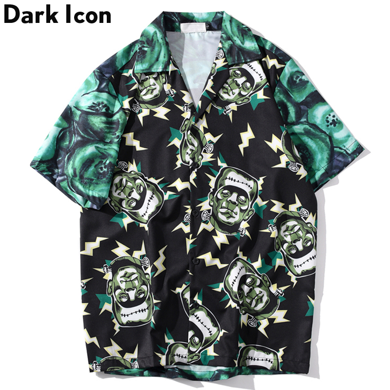 Dark Icon Full Printed Retro Shirt Men 2020 Summer Street Men's Shirts Short Sleeved Hip Hop Shirts For Men
