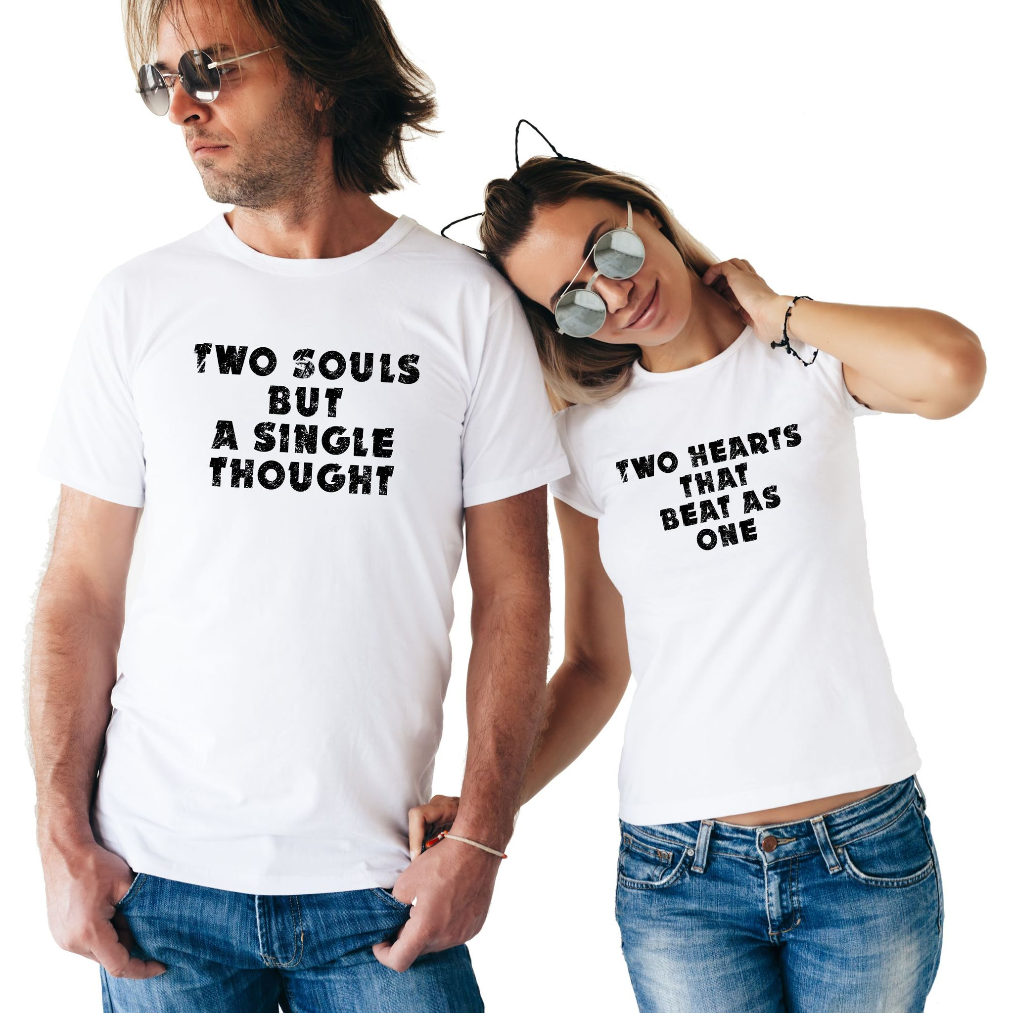 Two Souls But A Single Thought Two Hearts That Beat As One Slogan Letter Print T-shirt Funny Couple T Shirt For Lovers Gift