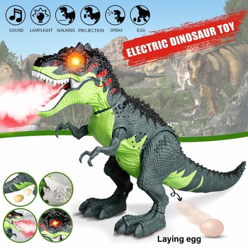 Electric Dinosaur Toy Walking Tyrannosaurus Spray Laying Eggs Light Sound with Action Figure Dinosaur Model Toy For Kids Gifts