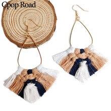 Cpop Boho Handmade Weaving Macrame Earrings Elegant Ethnic Cotton Thread Tassel Bridesmaid Jewelry Hot Sale Women Gift