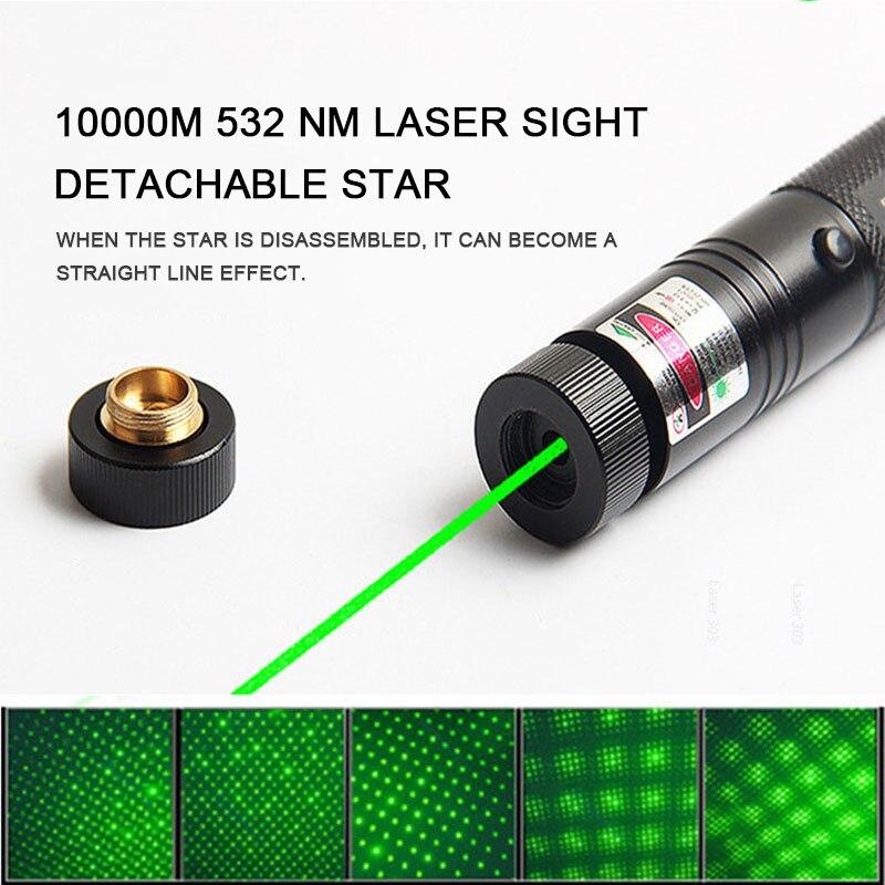 Caza 1000m 532nm Gypsophila verde Láser Sight puntero láser de alta potencia Enfoque Ajustable Lazer con láser 303