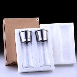 Image 5 - 2 sztuk/zestaw młynek do soli i pieprzu zestaw młynek do pieprzu ze stali nierdzewnej i ze szklanym korpusem z regulowanym młynek ceramiczny