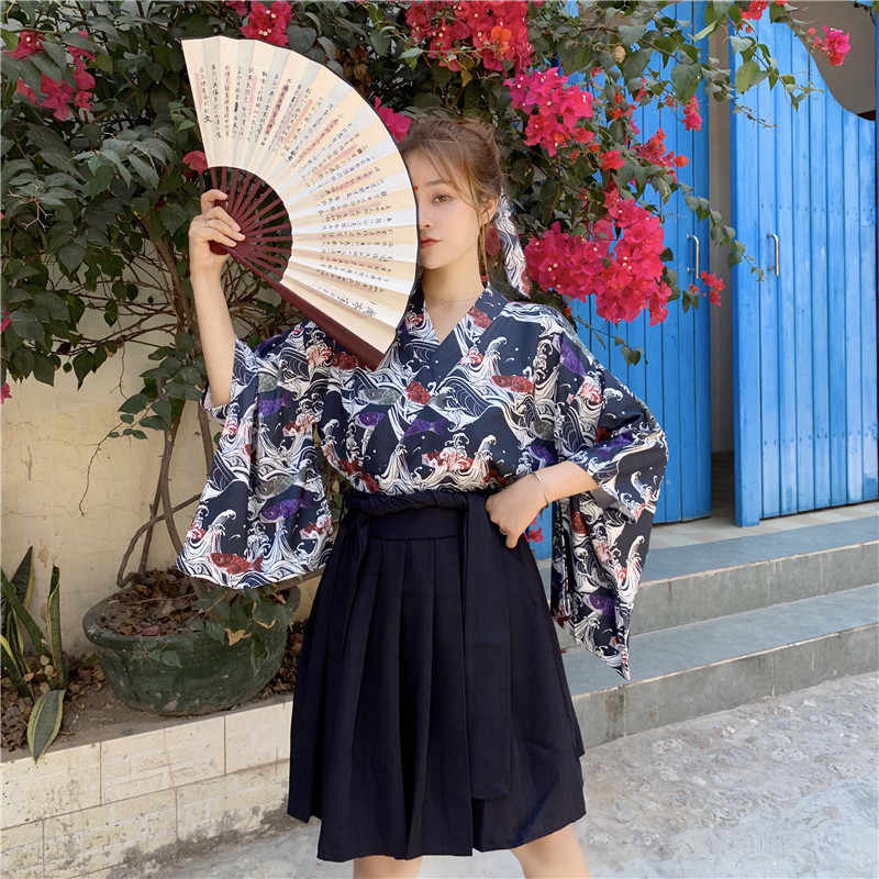 Retro Japanese Style Vintage Haori Kawaii Girls Women Carp Kimono Dress for Party Yukata Asian Clothes Skirts Vestidos Hot Sale