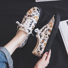 Shoes Women Spring 2019 New Canvas Girls Students Graffiti Shoes Kitty Cartoon Cat Korean Edition Ins Style White Shoes A35-81