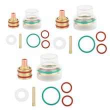 Комплект сварочных горелок TFM53NCN TIG, стеклянная колпачка, газовый объектив 1,6 мм/2,4 мм/3,2 мм, Сварочная насадка для железа/20/25 аргоновой дуговой сварочной горелки