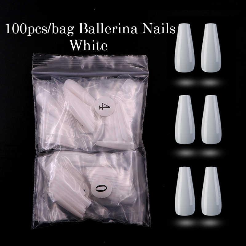 100pcs โลงศพเล็บปลอม Art สีขาว/Clear/NATURAL Ballerina/Stiletto รูปร่างเล็บปลอมที่ถอดออกได้เล็บเต็มรูปแบบเล็บเคล็ดลับ Art