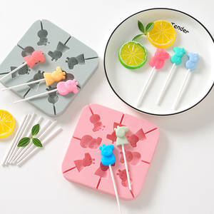 Square Lollipop Silicone Mold DIY Baking Tool Fudge Cake Chocolate Mold Children Candy Mold Cute Cartoon Animal Candy 3D Mold