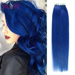 Илитэ в синьцзан волос 20 дюймов 100% русский Пряди человеческих волос для наращивания, голубой цвет высокий свет 5 шт./лот прямые-Реми ленты в