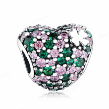 925 Sterling Heart European Charms Pave Crystal Bead Fit Pandora Original Bracelets DIY Pendant Charm Beads Women Jewelry Making new arrival love heart flower forever cartoon crystal beads fit original pandora charm bracelets