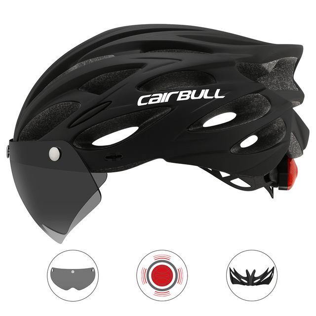 Bike Helmet Men Women with Light MTB Road Bicycle Helmet with Detachable Visor