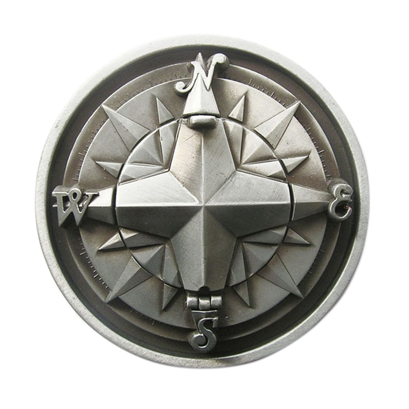 Antique Silver 3D Compass Round Belt Buckle also Stock in US