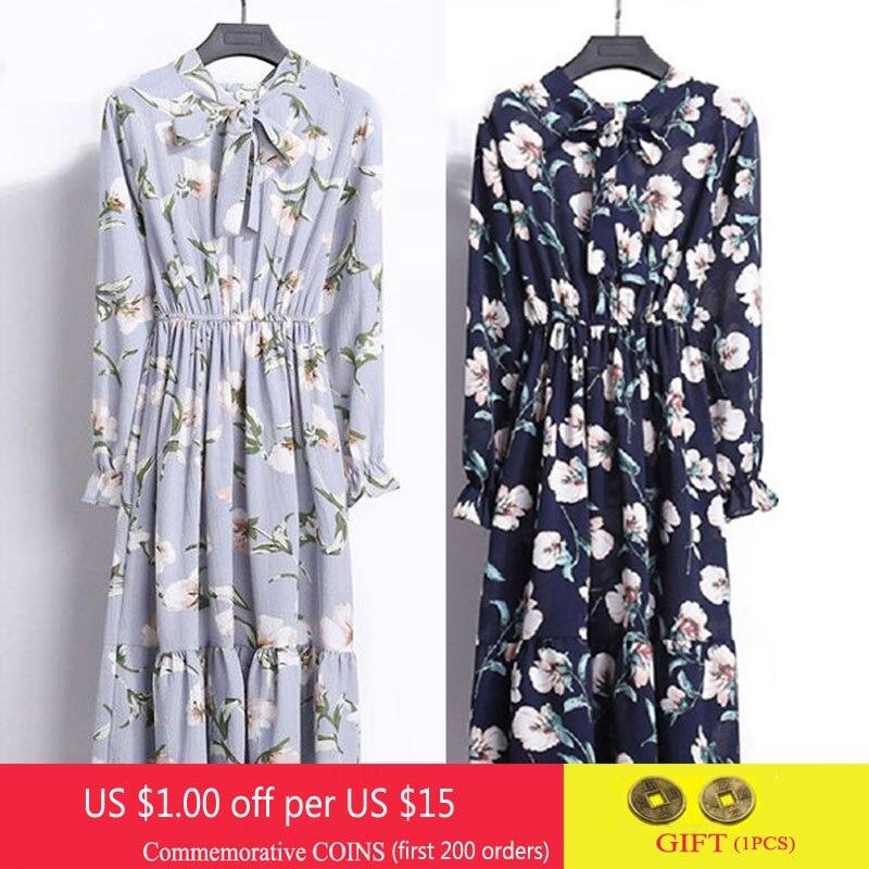 Women Chiffon Shirt Dress Spring Fashion Korea A Line Bow Fit Slim Party Dresses Casual Vintage Floral Print Midi Dress Vestidos