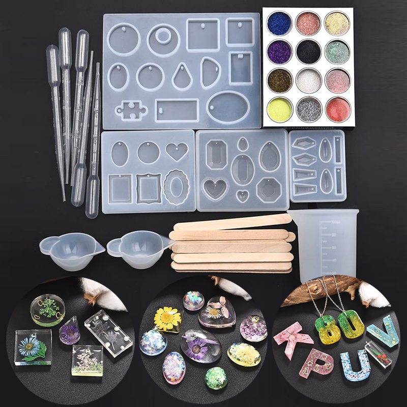 Geometric Silicone Casting Molds Stick Dropper Clasp DIY Jewelry Craft Making Tools Set DIY Earring Pendant UV Epoxy Resin Mould