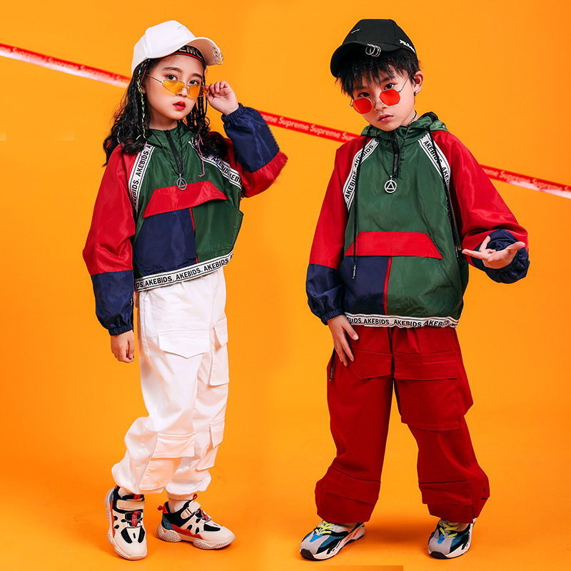 Girls Boys Loose Jazz Hip Hop Dance Competition Costume Mix Color Contrast Tops Pants Teens Kids Dancing Clothing Clothes Wear