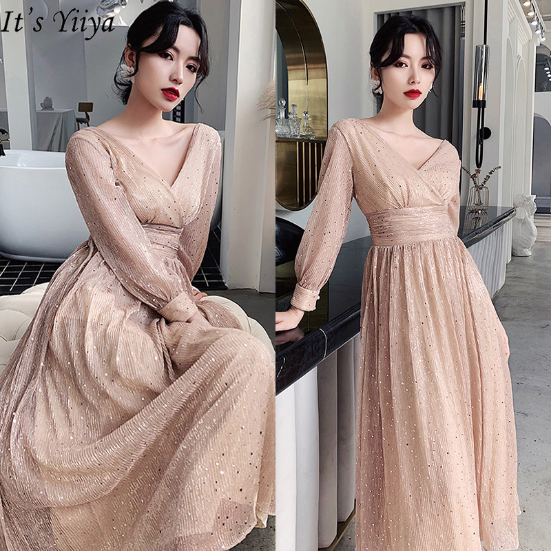 It's Yiiya Evening Dress 2020 Elegant V-neck Plus Size Robe De Soiree Long Sleeve For Women Shining Evening Dresses LF193