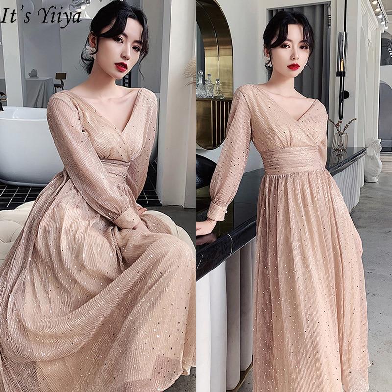It's Yiiya Evening Dress 2020 Elegant V-neck Plus Size Robe De Soiree Long Sleeve For Women Shining Evening Dresses LF193