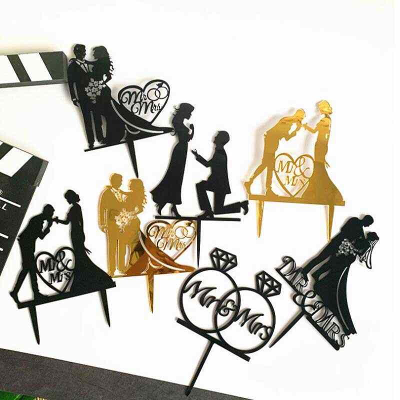 Wedding Cake Topper Bride Groom Mr Mrs Wedding Decorations Acrylic Black gold Cake Toppers Mariage Party Supplies Adult Favors