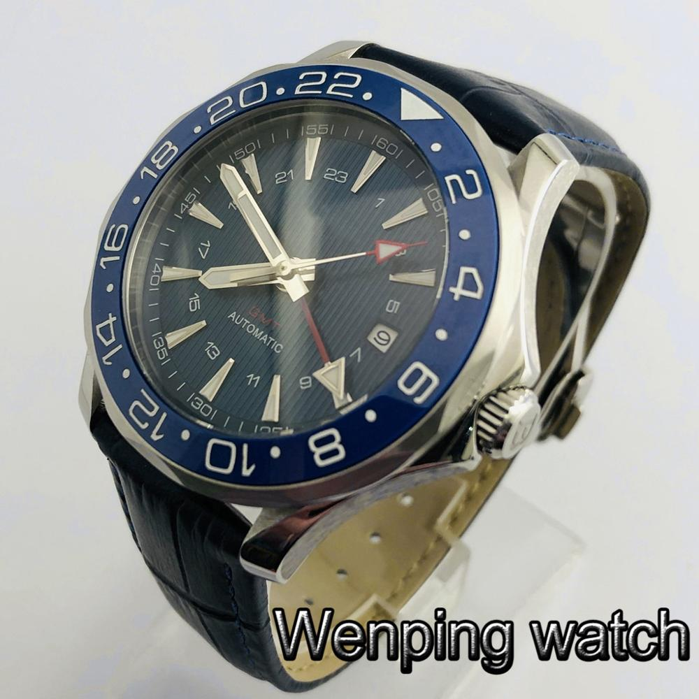Bliger new 41mm mens top watch sapphire glass ceramics bezel sterile dial GMT date luminous leather  automatic watches