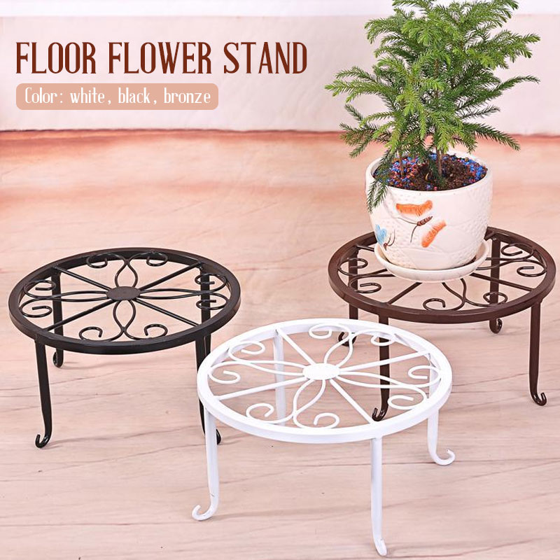 Flower Shelf Wrought Iron Round Plant Stand Floor Flower Pot Rack Create Balcony Classic Style Potted Stander Home Decor Garden