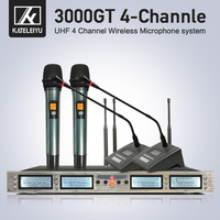 3000GT Professional UHF microphone 4 channel dual handheld double gooseneck wireless kalaok stage microphone system