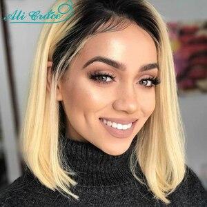 Ali Grace Wig Blonde T1B/613 Lace Front Wig 150% Density Short Bob Wigs Natural Hairline Brazilian Straight Hair 1B/613 Bob Wig(China)