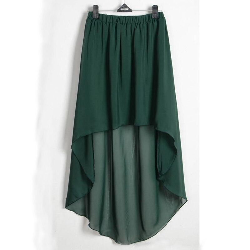 green-irregular-high-low-elastic-waist-chiffon-skirt